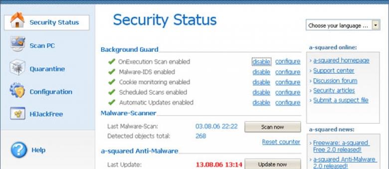 A-Squared, antivirus anti Malaware